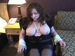 Thick girl with big boobs chairtied