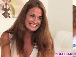 FemaleAgent New sexy busty agent loves the taste of pussy